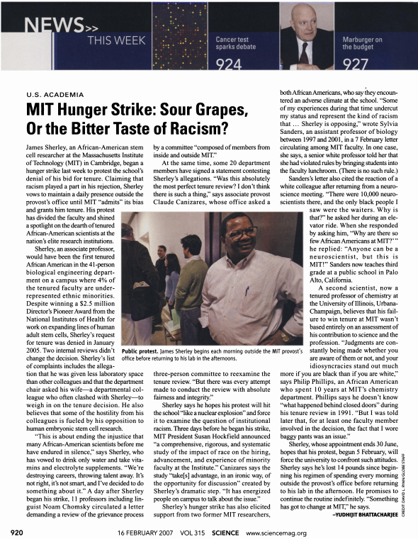 MIT Hunger Strike: Sour Grapes, or the Bitter Taste or Racism, Science News, Feb 2007.